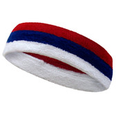 White blue dark red striped headband sports pro