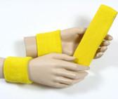 Bright yellow headband wristband set for sports sweat