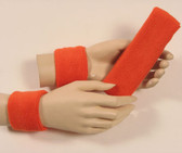 Dark orange headband wristband set for sports sweat