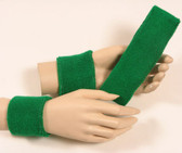 Green headband wristband set for sports sweat