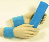 Sky blue headband wristband set for sports sweat