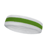 White bright green white striped terry tennis headband for sweat