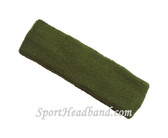 Army green terry sport headband for sweat