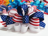 American flag hair bow with french clip