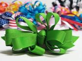 Bright green grosgrain bowtie hair bow w french clip