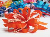 Orange pearl bead strings hair bow w french clip