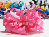 Pink twirl polka dot hair bow w french clip