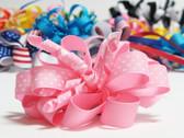 Light pink twirl polka dot hair bow w french clip