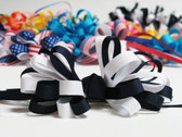 Navy and white hair bow grosgrain ribbon w french clip