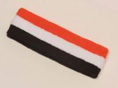 Orange white brown striped sports sweat headband