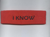 Custom Red Sport Headband with Black Text Sample