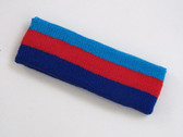 Sky blue red blue 3color striped headband for sports