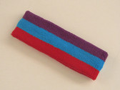 Purple skyblue red 3color striped headband for sports