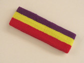 Purple bright yellow red 3color striped headband for sports