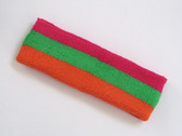 Hot pink bright green dark orage 3color striped headband for spo
