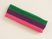 Green purple bright pink 3color striped headband for sports