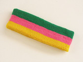 Green bright pink golden yellow 3color striped headband for spor