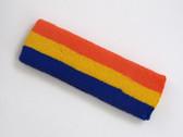 Dark orange golden yellow blue 3color striped headband for sport