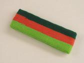 Dark green dark orange lime green 3color striped headband for sp