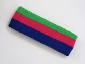 Bright green hotpink blue 3color striped headband for sports