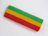 Bright green golden yellow red striped headband for sports
