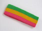Bright green golden yellow bright pink striped headband for spor