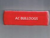 Custom Red Sport Sweat Headband with WhiteTexts Sample