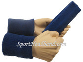 Blue sports sweat headband 4inch wristbands set