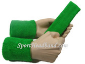 Bright green sports sweat headband 4inch wristbands set
