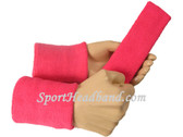 Bright pink sports sweat headband 4inch wristbands set