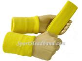 Bright yellow sports sweat headband 4inch wristbands set