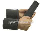 Charcoal dark grey sports sweat headband 4inch wristbands set