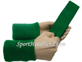 Green sports sweat headband 4inch wristbands set
