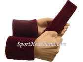 Maroon sports sweat headband 4inch wristbands set