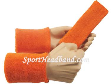 orange sweat headband and wristband set for sports