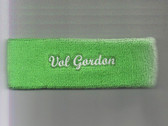 Custom Bright Green Sport Headband with White Text Sample