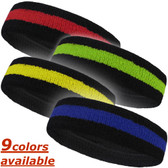Black and Color Striped Sport Terry Headband for Sweat