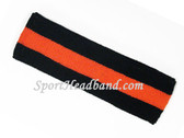 Black Dark Orange Black striped sport terry headband