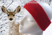 Red Winter Headband, Large & Thick Terry Cloth