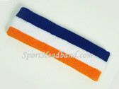 Blue white Light Orange Striped Terry Sport Headband for Sweat