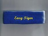 Custom Blue Sports Headband with Yellow Logo Embroidery Sample