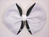 White 2Tone Hair Bow with Clip