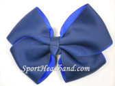 Navy 2Tone Hair Bow with Clip