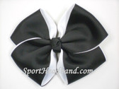Black 2Tone Hair Bow with Clip