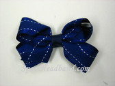 Navy with White Stitch Hair Bow with Clip