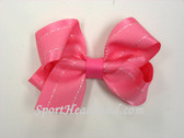 Pink with White Stitch Hair Bow with Clip