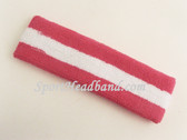Bright pink white Bright pink striped sport headband terry