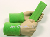Bright Lime Green Sports Headband 4inch Men's Wristbands Set