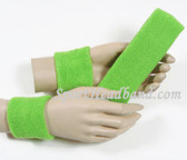 Bright Lime green Sport headband 2.5INCH wristband set