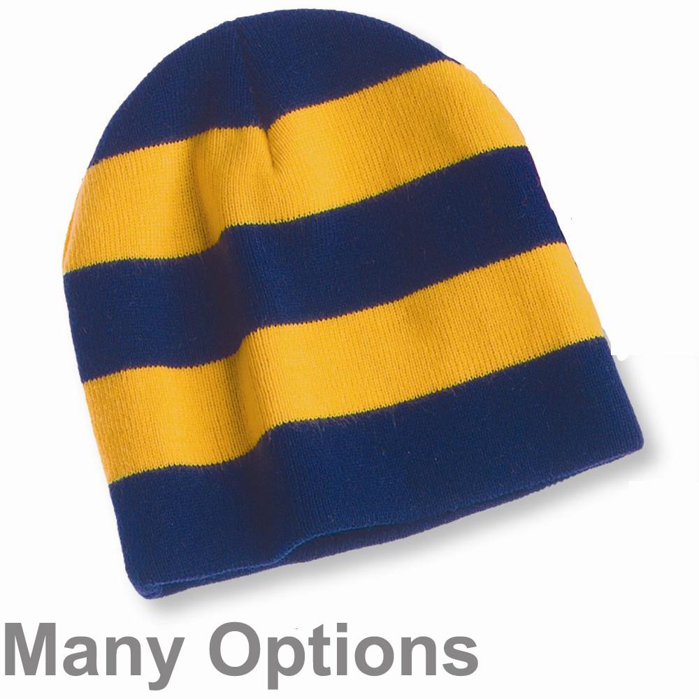 Knit Collegiate Rugby Stripe Winter Scarf /& Beanie Hat Set NAVY//WHITE
